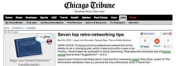 Vicky Oliver quoted in the Chicago Tribune